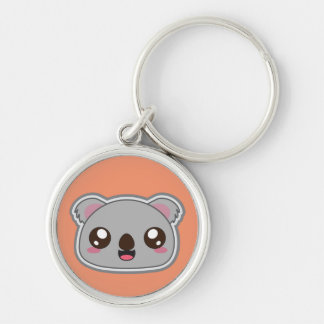 Kawaii, fun and funny koala orange round keychain