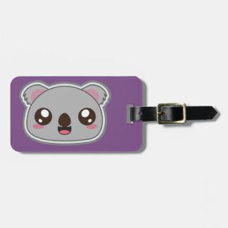 Kawaii, fun and funny koala purple luggage tag