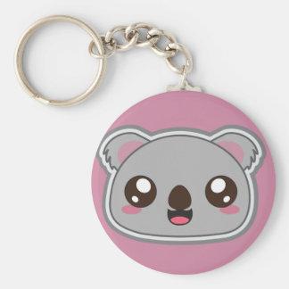 Kawaii, fun and funny koala round keychain