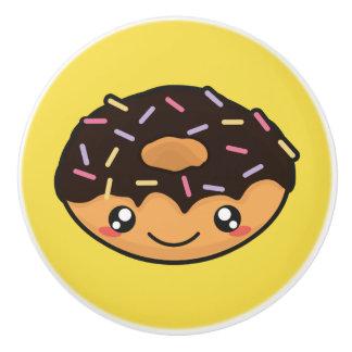 Kawaii, fun, funny and cool donut yellow knob