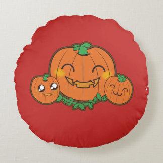 Kawaii, fun, funny and cool pumpkin round pillow