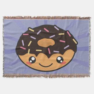 Kawaii funny and cool donut throw blanket
