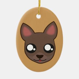 Kawaii funny chihuahua oval ornament