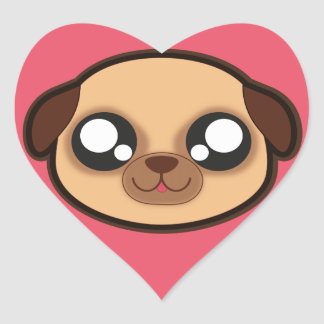Kawaii funny dog heart sticker