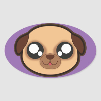 Kawaii funny dog oval sticker
