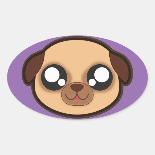 Kawaii funny dog oval sticker