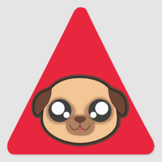 Kawaii funny dog triangle sticker