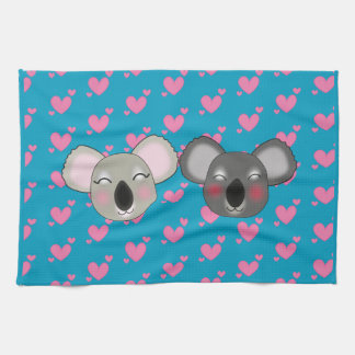 Kawaii funny koalas in love kitchen towel