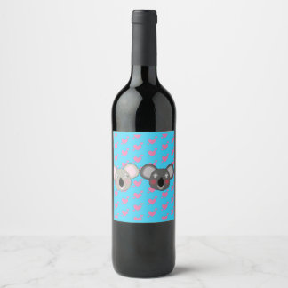 Kawaii funny koalas in love wine bottle wine label