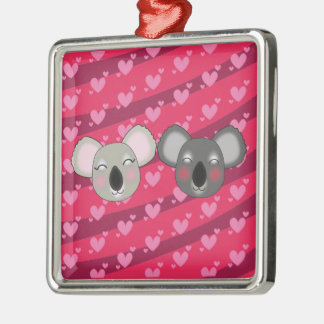 Kawaii funny koalas metal ornament