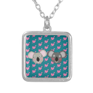 Kawaii funny koalas silver plated necklace