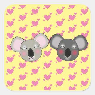 Kawaii funny koalas square sticker