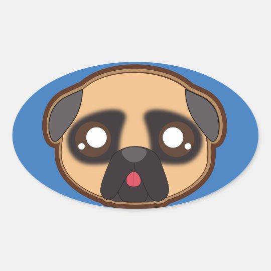 Kawaii funny pug oval sticker