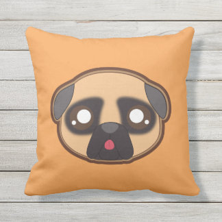 Kawaii funny pug throwpillow