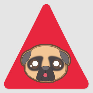Kawaii funny pug triangle sticker
