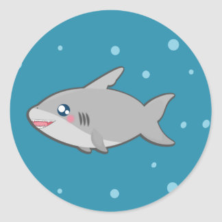 Kawaii funny shark round sticker