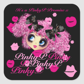 Kawaii Girl Pinky Promise gifts for friends Square Sticker