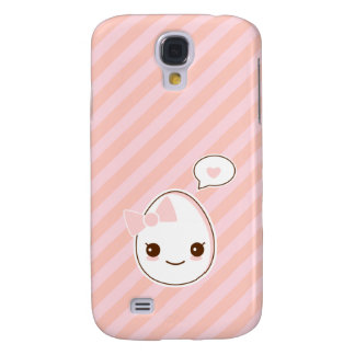 Kawaii girly Egg with a hapy face pink stripped