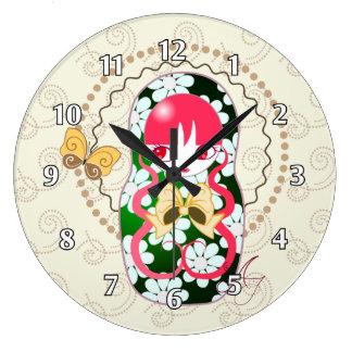 Kawaii Gold Bow and Flowers Matryoshka Large Clock