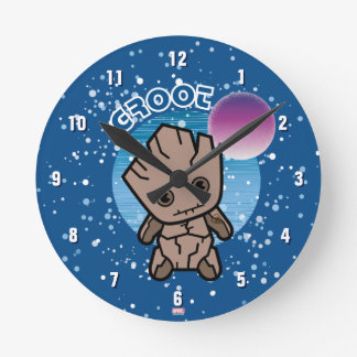Kawaii Groot In Space Round Clock