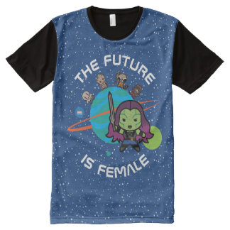 Kawaii Guardians of the Galaxy Planet Graphic All-Over-Print T-Shirt