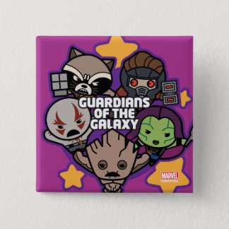 Kawaii Guardians of the Galaxy Star Graphic 2 Inch Square Button
