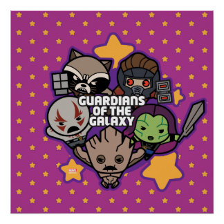 Kawaii Guardians of the Galaxy Star Graphic Poster