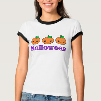 Kawaii Halloween Pumpkins Womens T-Shirt