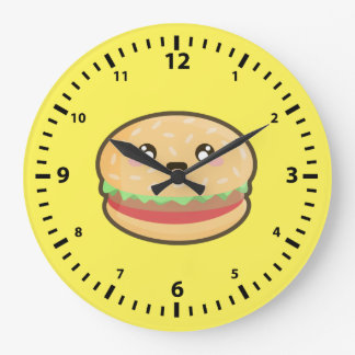 Kawaii hamburger large clock