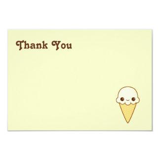 Kawaii Happy vanilla Ice cream cone 3.5x5 Paper Invitation Card