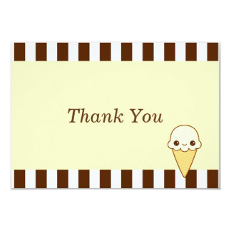 "Kawaii Happy vanilla Ice cream cone 3.5"" X 5"" Invitation Card"