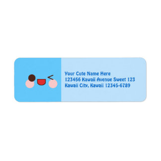 Kawaii Happy Wink Face Blue Return Address Label