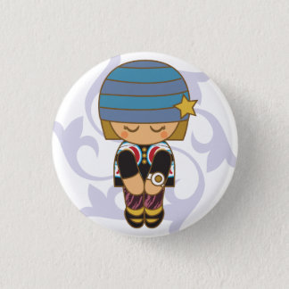 Kawaii Hipster Girl Button