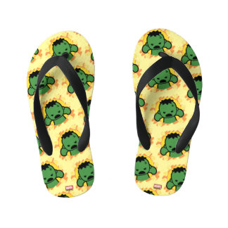 Kawaii Hulk With Marvel Hero Icons Kid's Flip Flops