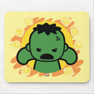 Kawaii Hulk With Marvel Hero Icons Mouse Pad