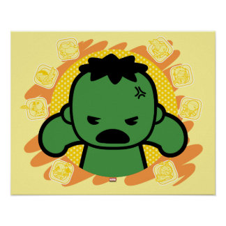 Kawaii Hulk With Marvel Hero Icons Poster