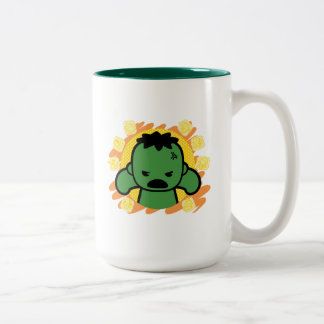 Kawaii Hulk With Marvel Hero Icons Two-Tone Coffee Mug