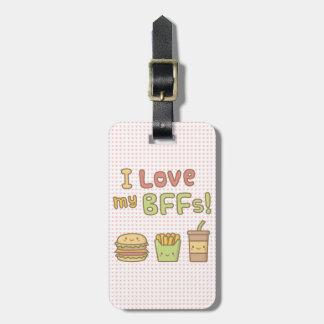 Kawaii I Love My BFFs Burger French Fries Soda Luggage Tag