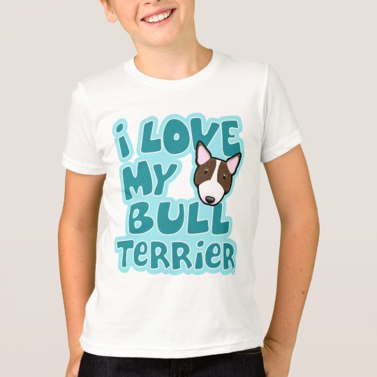 Kawaii I Love My Brindle Bull Terrier T-Shirt