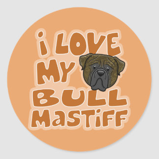 Kawaii I Love My Brindle Bullmastiff Round Sticker