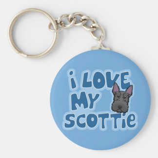 Kawaii I Love My Scottie Basic Round Button Keychain
