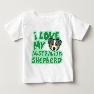Kawaii I Love My Tri Color Australian Shepherd Baby T-Shirt