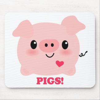 Kawaii I Love Pigs Mouse Pad