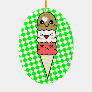 Kawaii Ice Cream Ceramic Oval Ornament