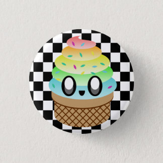 KAWAII ICE CREAM RAINBOW CONE CHECKERBOARD PIN