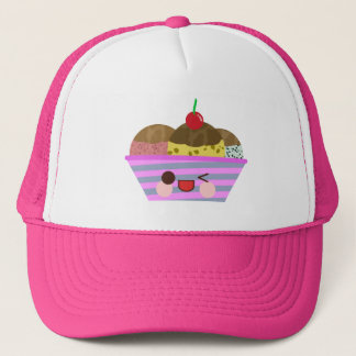 Kawaii Ice Cream Sundae Flavors Delicious Summer Trucker Hat