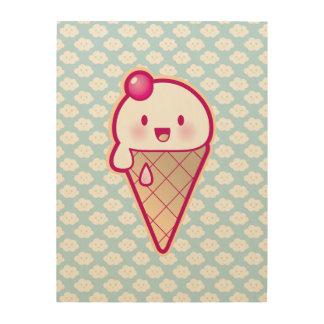 Kawaii Ice Cream Wood Prints