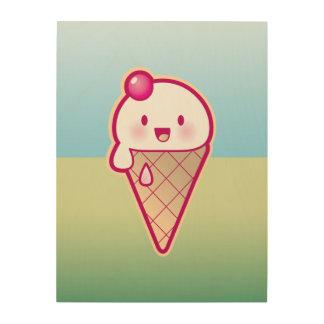 Kawaii Ice Cream Wood Print