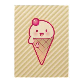 Kawaii Ice Cream Wood Canvases