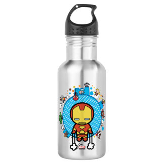 Kawaii Iron Man With Marvel Heroes on Globe 532 Ml Water Bottle